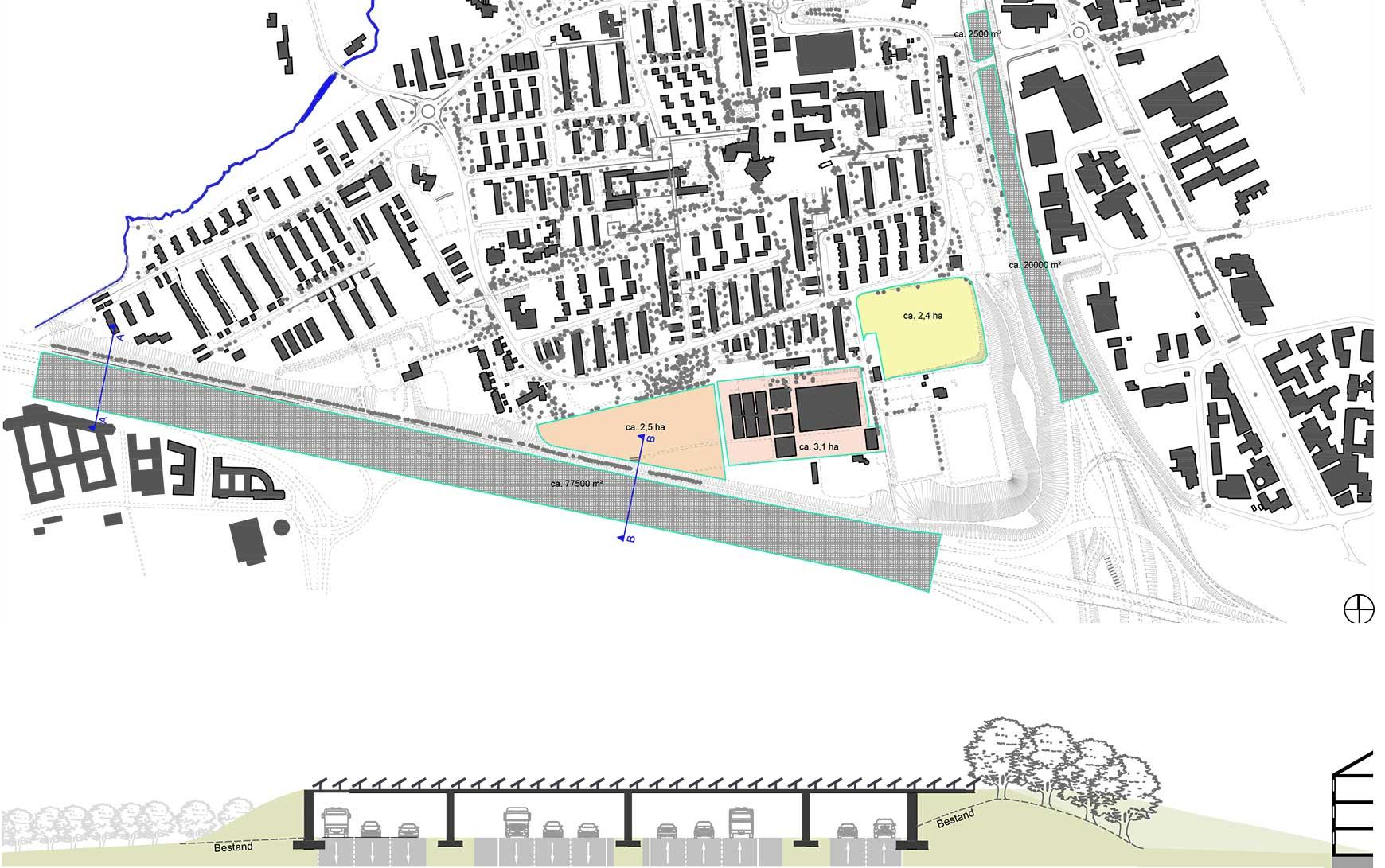INNOVATIONEN Ein Energiedach über der Autobahn A8 verschafft einem ganzen Stadtteil Ruhe, ermöglicht neue Bauflächen und versorgt diese mit der notwendigen Energie <br /><br />