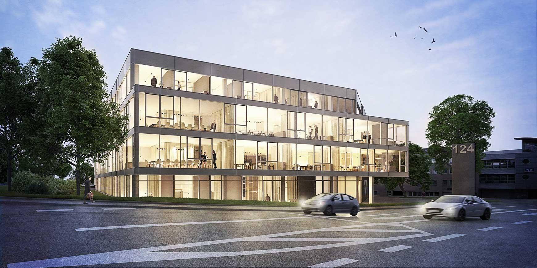 VALLEY ONE24 Das Genossenschaftliche Bürozentrum Stuttgart Ost hatte Baubeginn. Es entsteht ein hocheffizientes Bürohaus<br /><br /><a href='https://www.mader-architekten.de/projekte/3/industrie-und-gewerbebau/valley-one24/'> Bürozentrum Valley One24</a>