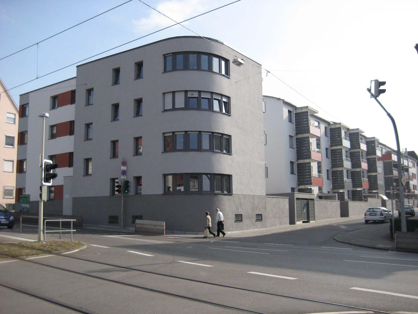 Eckausbildung Walkerstraße / Schmidener Straße